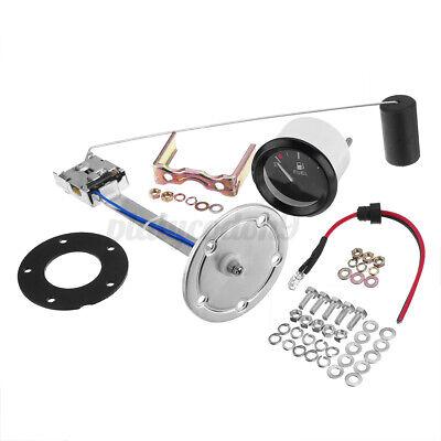 Fuel Level Gauge Meter w/ Fuel Sensor E-1/2-F Indicator Universal 2'' White