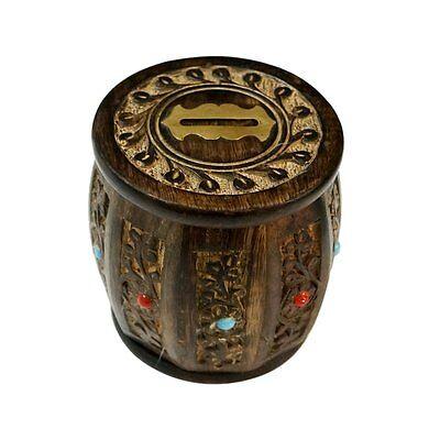 Barrel Shaped Wooden Piggy Bank Wooden Handicrafts Piggy Banks Free Shipping BM1 (Wooden Piggy Banks)