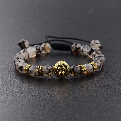 8MM Natural Stone Round Gemstone Bead Golden lion Head Handmade Beads Bracelets