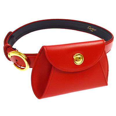 Cartier Panther Logos Waist Bum Bag Red Leather Italy Vintage Authentic AK38275k