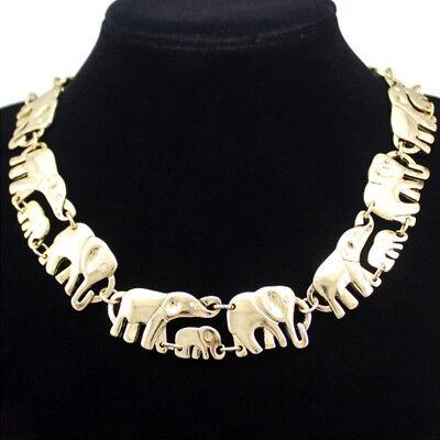 Elefanten Mutter Kind Baby Design Collier Kette Halskette Gold plattiert neu (Kind Halskette)