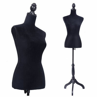 New Female Women Mannequin Torso Dress Form Display W Black Tripod Stand Black