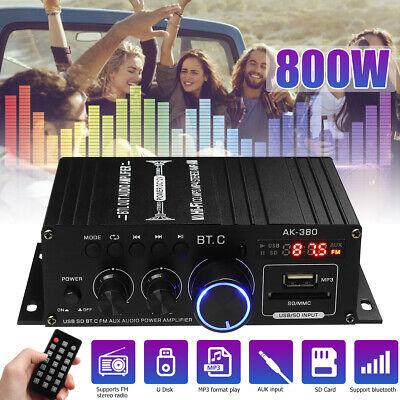 800W 2CH USB HiFi Digital bluetooth Amplifier Mini Home Car Stereo Audio Amp 12V