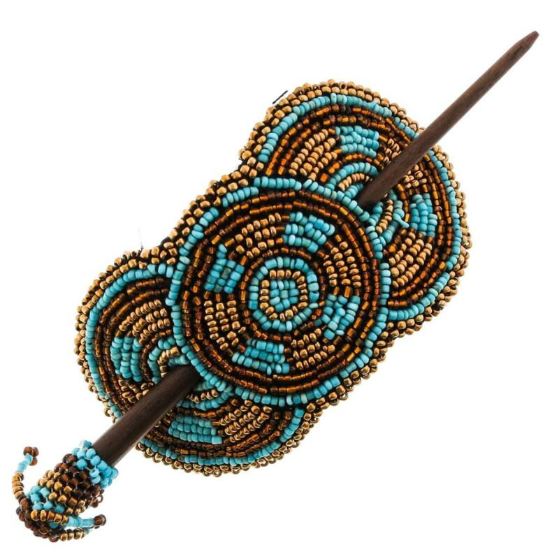 NATIVE TRIBAL STYLE MIX TURQUOISE BRASS-TONE BRONZE HANDMADE SEED BEADS hairpin