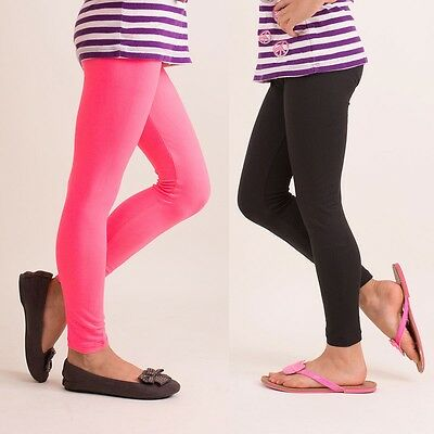 Girls Elastic Waist Pants - Kids Girls Basic Leggings Elastic Waist Pants  S/M L/XL B1001  Yoain