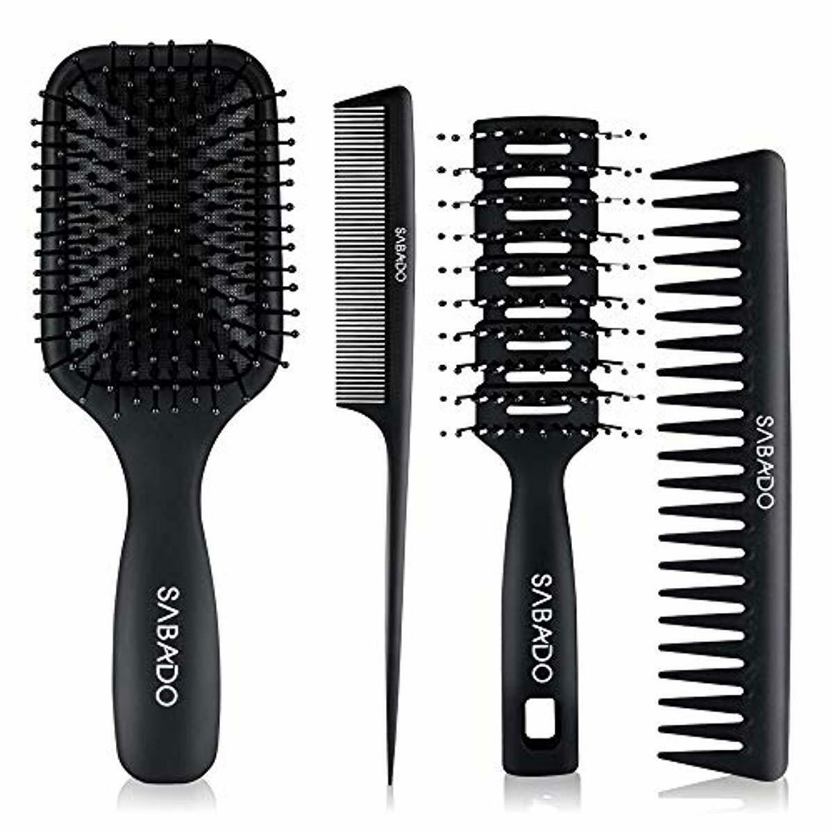 4Pcs Paddle Hair Brush Detangling Brush and Hair Comb Set fo