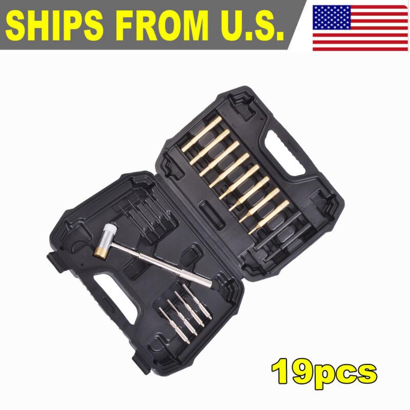 19PC Hammer & Punch Set Brass Steel Plastic Punches Gunsmithing Maintenance Kit