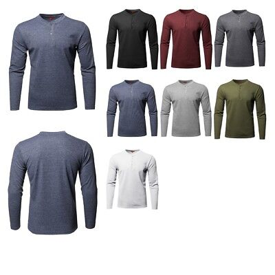 FashionOutfit Men's Premium Quality Thermal Henley Crew Neck Long Sleeve T-Shirt ()