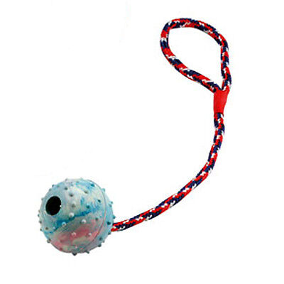 3 X Hundespielzeug - Ball am Seil - Schleuderball aus Vollgummi - 6 cm