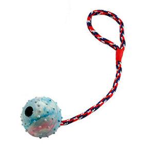 Hundespielzeug - Ball am Seil - Schleuderball aus Vollgummi - 6 cm