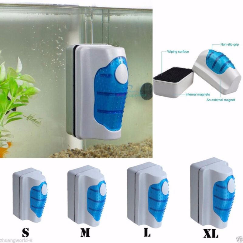 Aquarium XL Fish Tank Floating Magnetic Glass Cleaner Algae Brush Scrubber