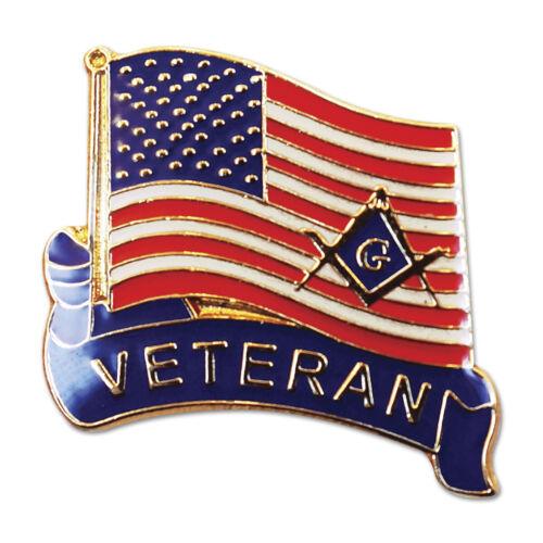 Veteran American Flag Square & Compass Masonic Lapel Pin