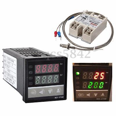 220V 110V Digital PID Temperature Controller Thermostat 40A SSR K Thermocouple