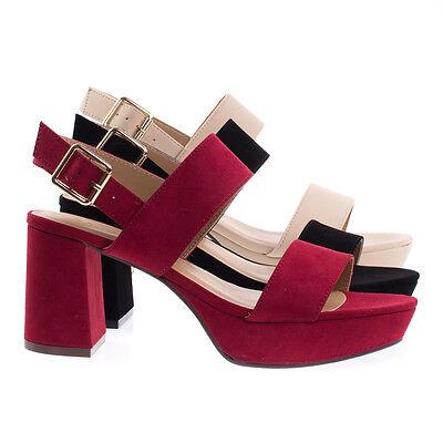 Camile04s Retro Chunky Low Block Heel Platform Dress Sandal W Sling Back Buckle