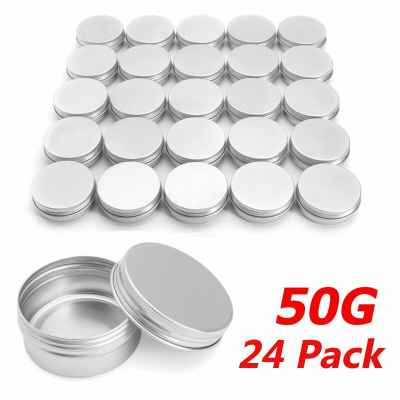 24 X Steel Round Tin Cans 50g Screw Top Lid Storage Beard Lip Balm Empty Can