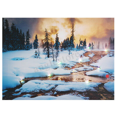 Snow Cabin LED Light Up Lighted Canvas Painting Picture Wall Art Home (Led Art)