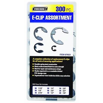 300 Pc Piece Sae Round Spring Eclip Metal Steel E-clip Fastener Assortment Kit