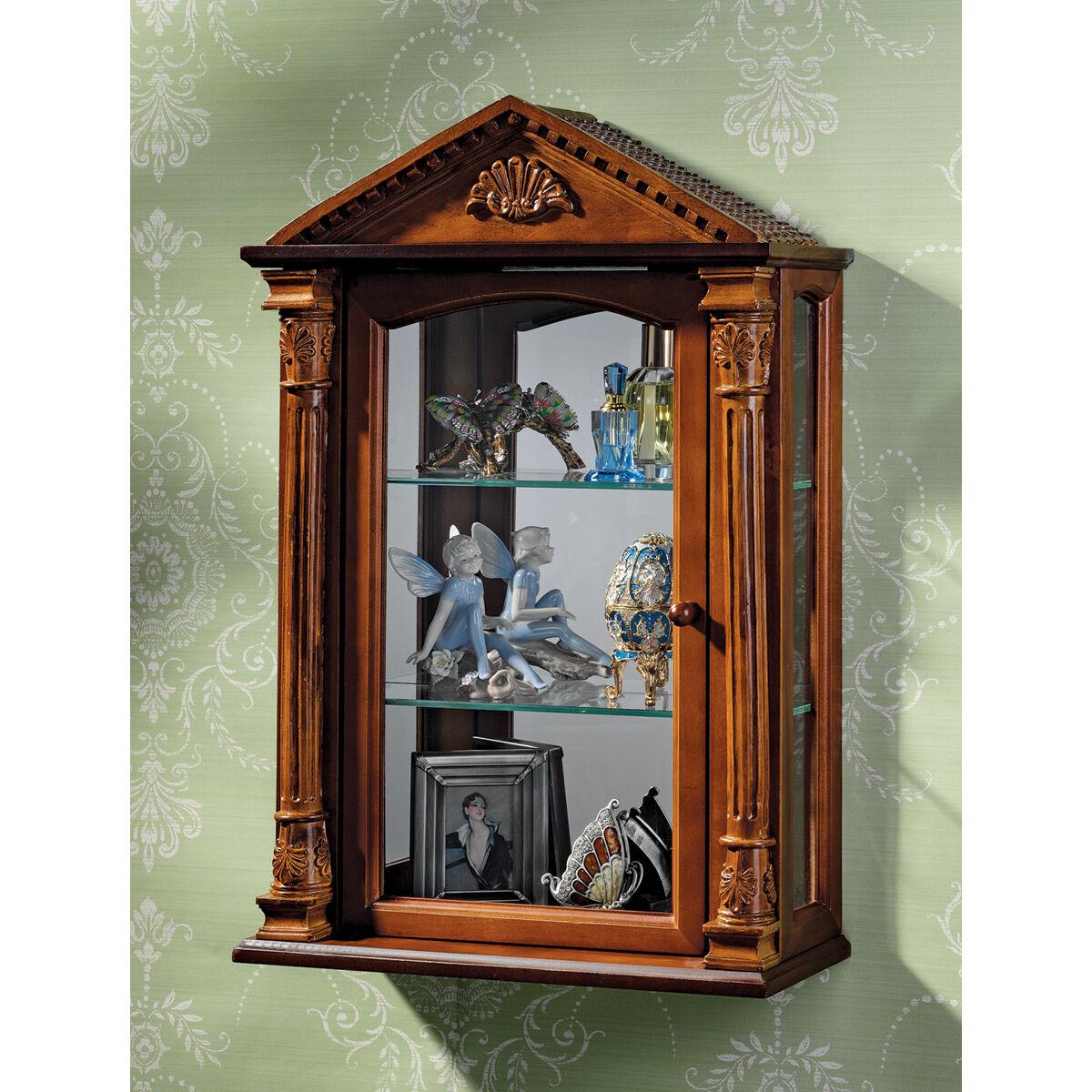 Corinthian Columns Pediment Mirror Backed Wall Curio Cabinet