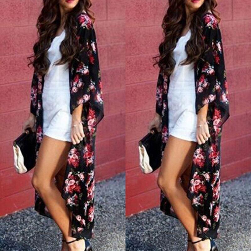 Women Chiffon Kimono Beach Cardigan Wrap Duster Beachwear Lo