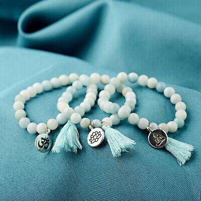 Lotus Natural (Natural Stone Lotus Buddha Mala Tassel Beads Bracelets Bangles Women Yoga Prayer)