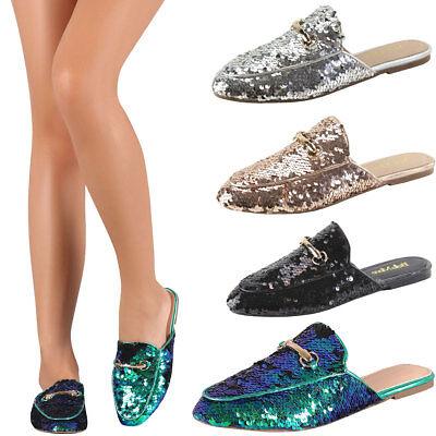 New Womens Sequin Horsebit Slip On Slide Oxford Loafer Mules Flat Shoes Slipper