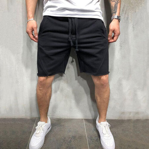 UK Mens Cargo Shorts Pants Casual Summer Beach Sport Gym Trousers Plain Elastic