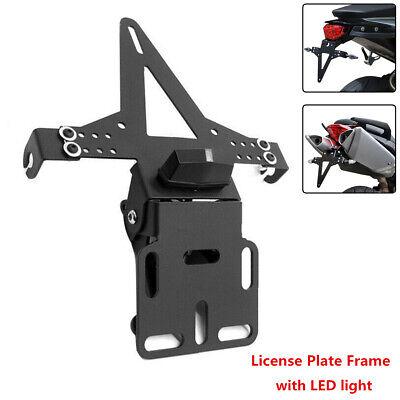 Motorcycle Metal Fender Eliminator License Plate Holder Bracket w/ LED Taillight