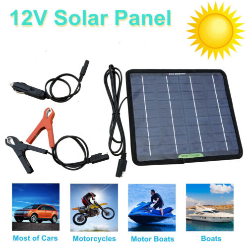 12V 5W Portable Solar Panel Power Battery Charger Backup for