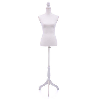 White Female Mannequin Torso Clothing Display W White Tripod Stand