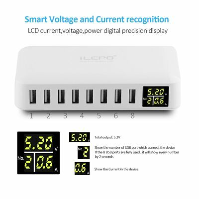 iLepo USB Charging Station 8-Port Charger Plug with LCD Display Voltage (F7K)