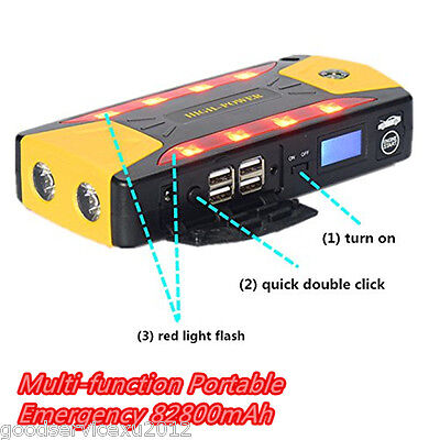 12V 82800Mah Vehicle Jump Starter Power Battery Bank 4 Usb 8Led Emergency Lights