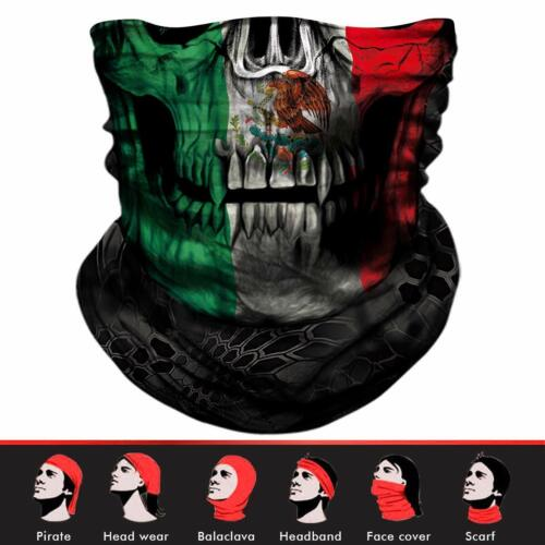 Mexico Flag FACE MASK Sun Shield Neck Gaiter Headband Bandana Du Rag Skull Cap