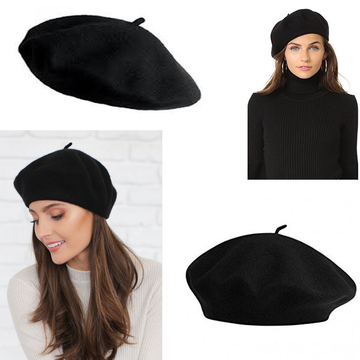 Details about 1pc Women 100% Warm Wool Winter Girl Beret French Artist  Beanie Hat Ski Cap    8654e646d99