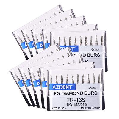 100pcs Dental High Speed Diamond Burs Tr-13s For Crown Cavity Preparation Azdent