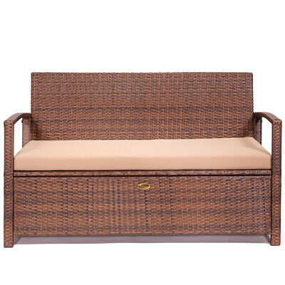 All-Weather Deck Box UV Outdoor Storage Bench Pool Patio with Seat Cushion