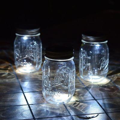 3 Pack LED Fairy Light Solar Mason Jar Lid Insert White Light Garden Decor English Garden 3 Light