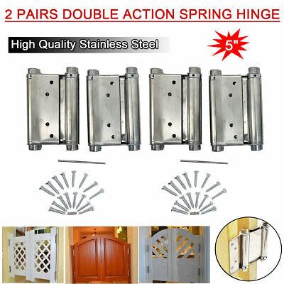 "A Pair 3/"" Adjustable Double Action Spring Hinge Saloon Cafe Swing Door w Screws"
