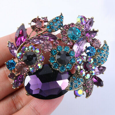 Purple Flower Brooch Pin Austrian Crystal Gold Tone Women Party Gift