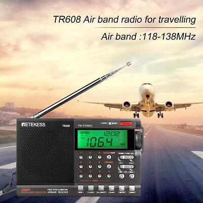 Retekess TR608 Portable Air Band/FM/MW/SW Radio Receiver Alarm Tuning Airport US