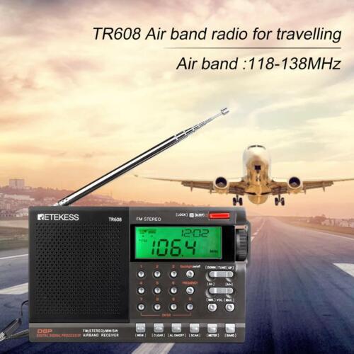 Retekess Portable FM/MW/SW Radio Air Band Digital Alarm Cloc