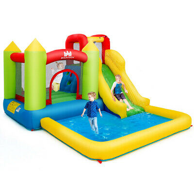 Inflatable Bounce House Water Slide Jump Bouncer w/Climbing Wall and Splash Pool](Kids Jump)