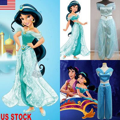 Aladdin Jasmine Princess Cosplay Women Girl Garment Fancy Dress Up Party Costume](Fancy Dress Princess Jasmine)