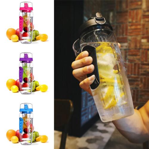 Trinkflasche mit Fruchteinsatz Wasserflasche Sportflasche Behälter 1000ml Sport