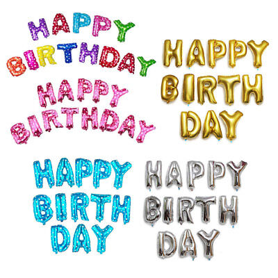 "US 16"" ""Happy Birthday"" Foil Alphabet Letters Balloons Party Decor (13 pieces)"