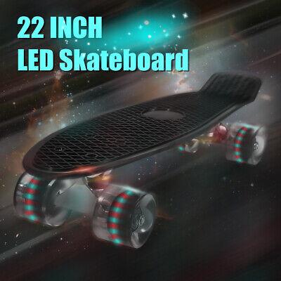 UK 22 Inch Mini Plastic Board Complete Skateboard Wheel With LED Lights Cruiser