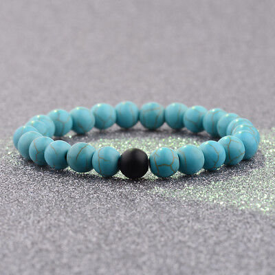 New 8mm Natural Stone Agate Turquoise Beads Bracelets Distance Valentines Gifts