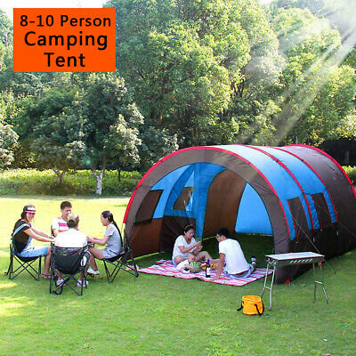 8-10 Family Tent Waterproof Outdoor Camping Garden Party Large Room Hiking Tents