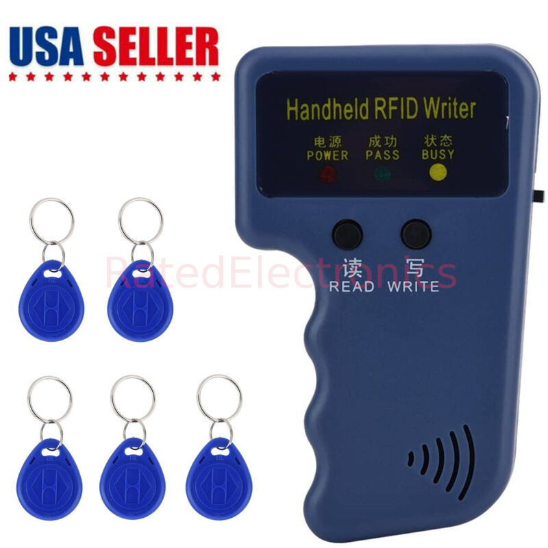Handheld RFID Card Copier ID Key Reader Writer 125KHZ Duplicator Cloner 5 Tags