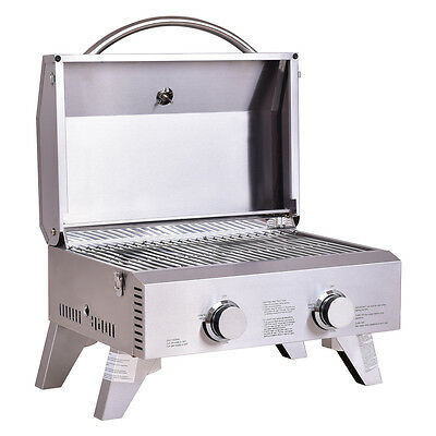 - 2 Burner Portable Stainless Steel BBQ Table Top Propane Gas Grill Outdoor Camp