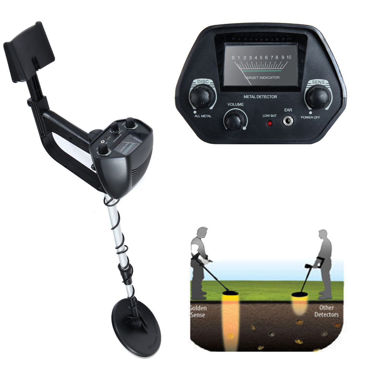 "Waterproof Metal Detector Deep Sensitive Search Gold Digger Hunter 6.5"" MD-4030"